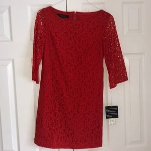 Red Lace Nine West Dress Size 4- Never been worn